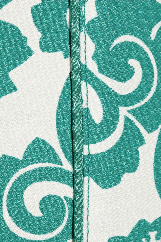 Tory Burch Walton printed stretch-cotton piqué straight-leg pants