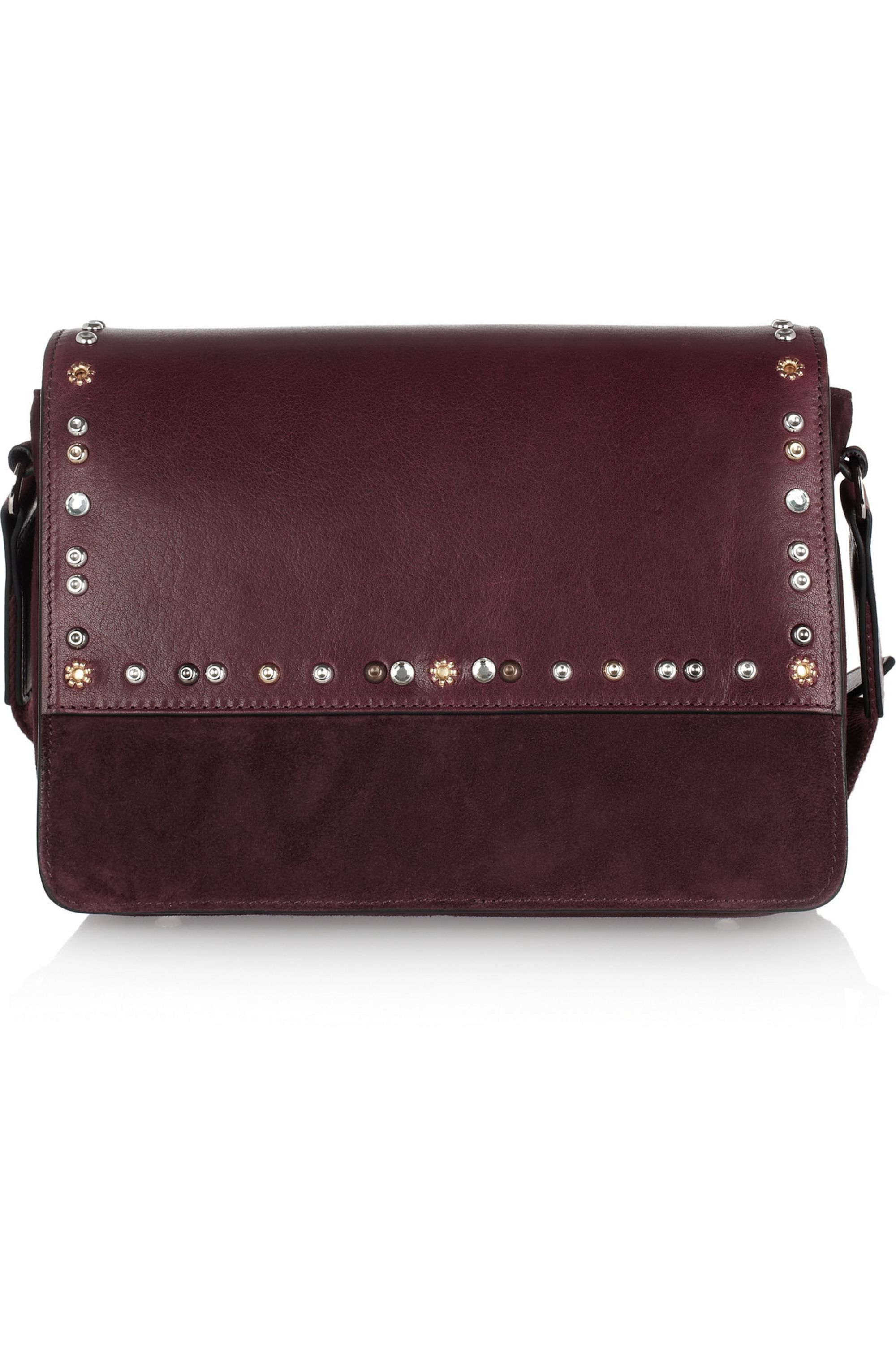 Isabel Marant Laura studded leather and suede shoulder bag