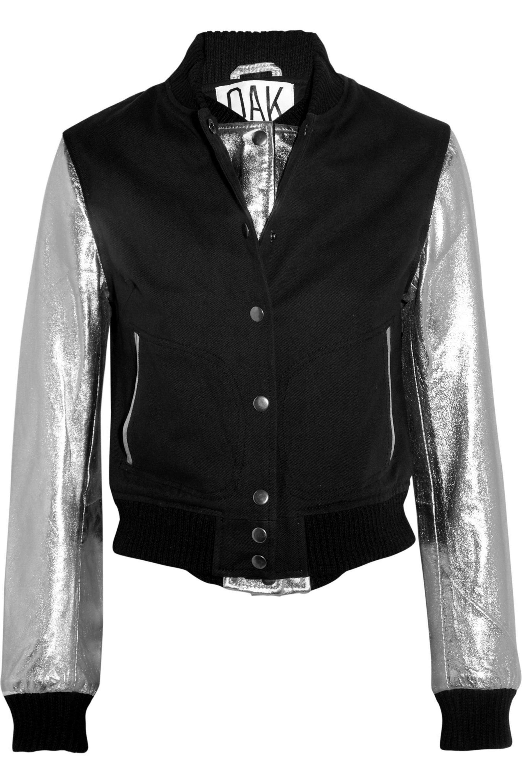 OAK Cotton-twill and leather varsity jacket