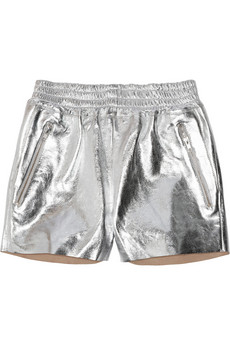 OAK Rider metallic-leather shorts