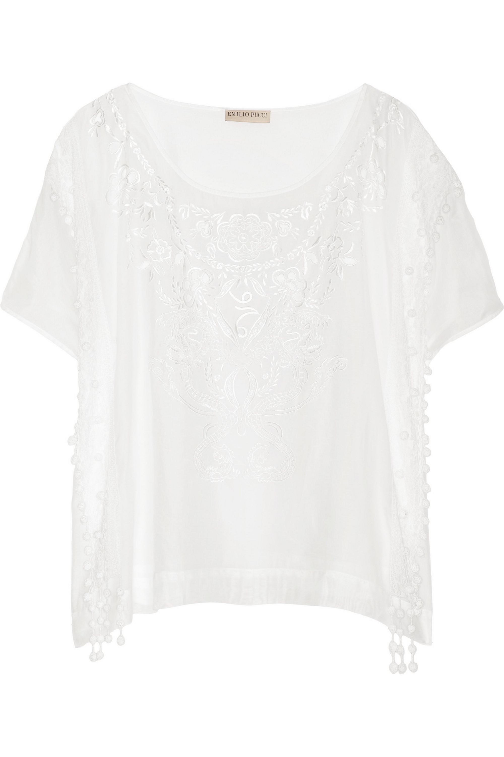 Emilio Pucci Embroidered cotton and silk-blend voile top