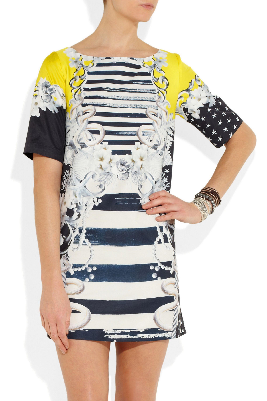 Emma Cook Printed sateen dress