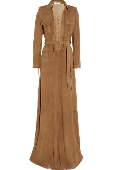 Robe longue en daim