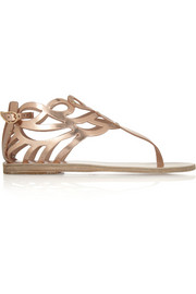 Medea cutout mirrored-leather sandals