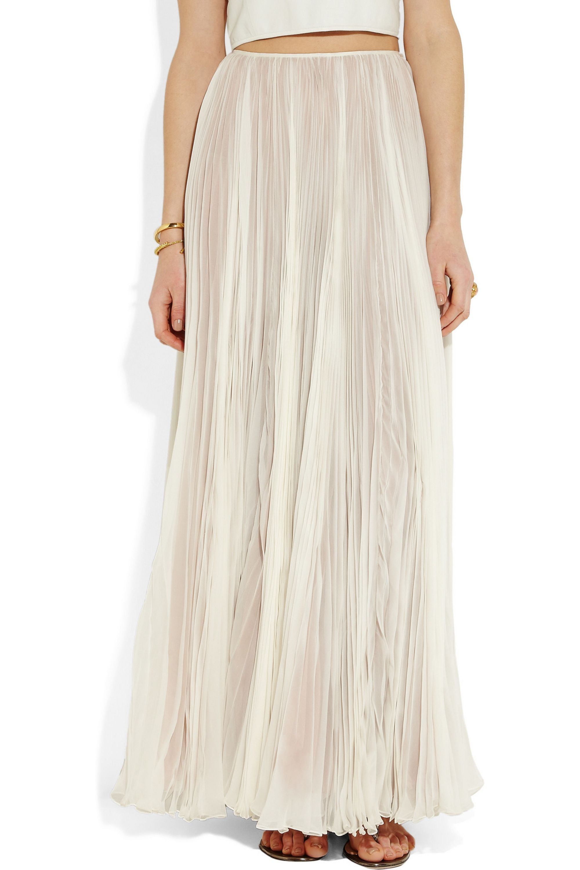 Rochas Pleated silk-chiffon maxi skirt