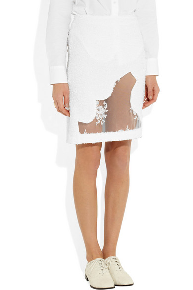 49bee4435 Simone Rocha | Tweed and lace pencil skirt | NET-A-PORTER.COM