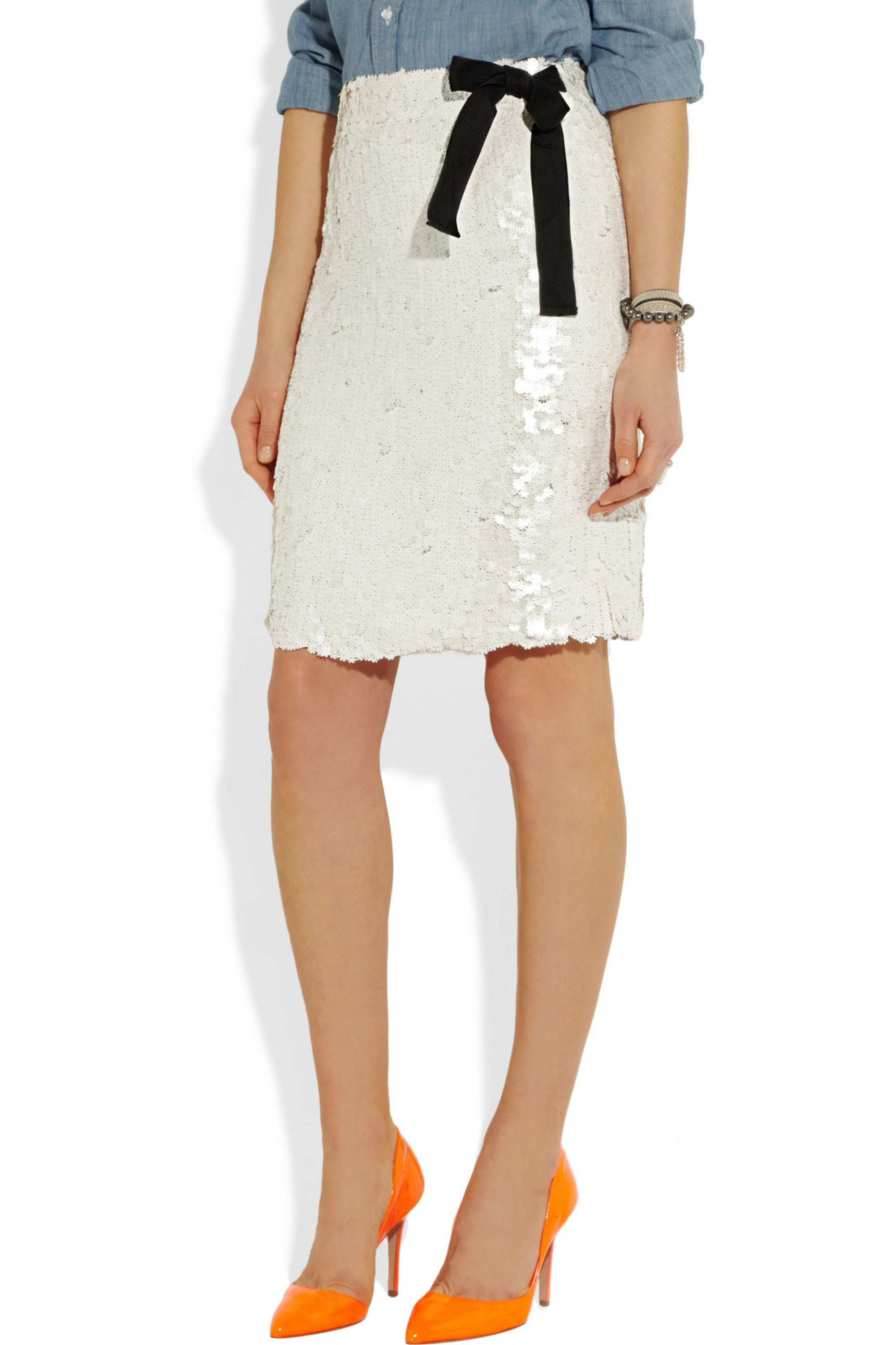J.Crew Floral-sequined silk skirt