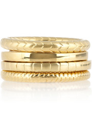 Saint Laurent Set of four gold-plated rings