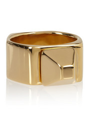 Saint Laurent Clous De Paris gold-plated ring