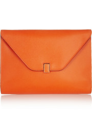 Valextra Textured-leather envelope clutch