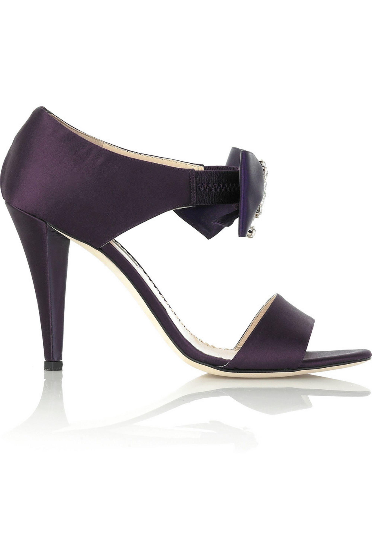 Oscar de la Renta Crystal ribbon sandals
