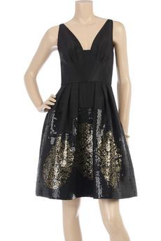 Oscar de la RentaSilk faille embroidered dress