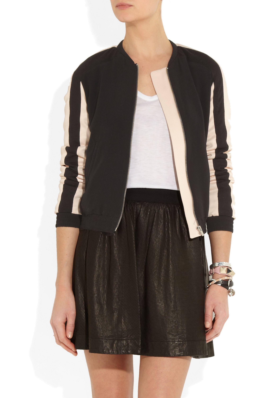 Maje Audace two-tone georgette bomber jacket