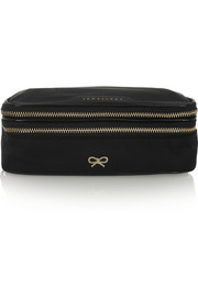 Patent leather-trimmed jewelry case