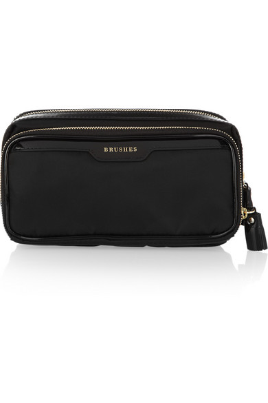 Anya Hindmarch - Make Up Small Patent Leather-trimmed Cosmetics Case - Black