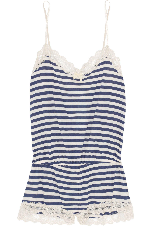 Eberjey Maritime striped stretch-jersey playsuit