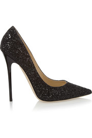 Jimmy Choo Anouk glitter-finished leather pumps