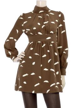 TibiFloating Feathers print dress