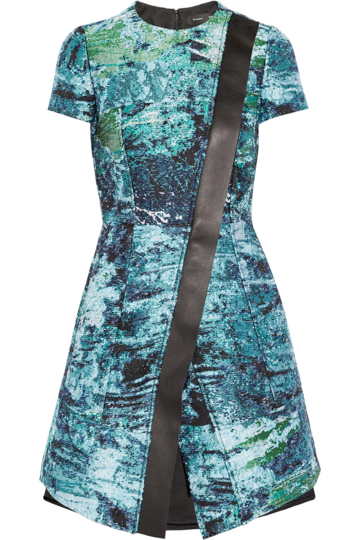 Proenza Schouler Leather-trimmed bouclé-jacquard dress