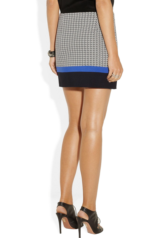 Tibi Houndstooth cotton-blend mini skirt