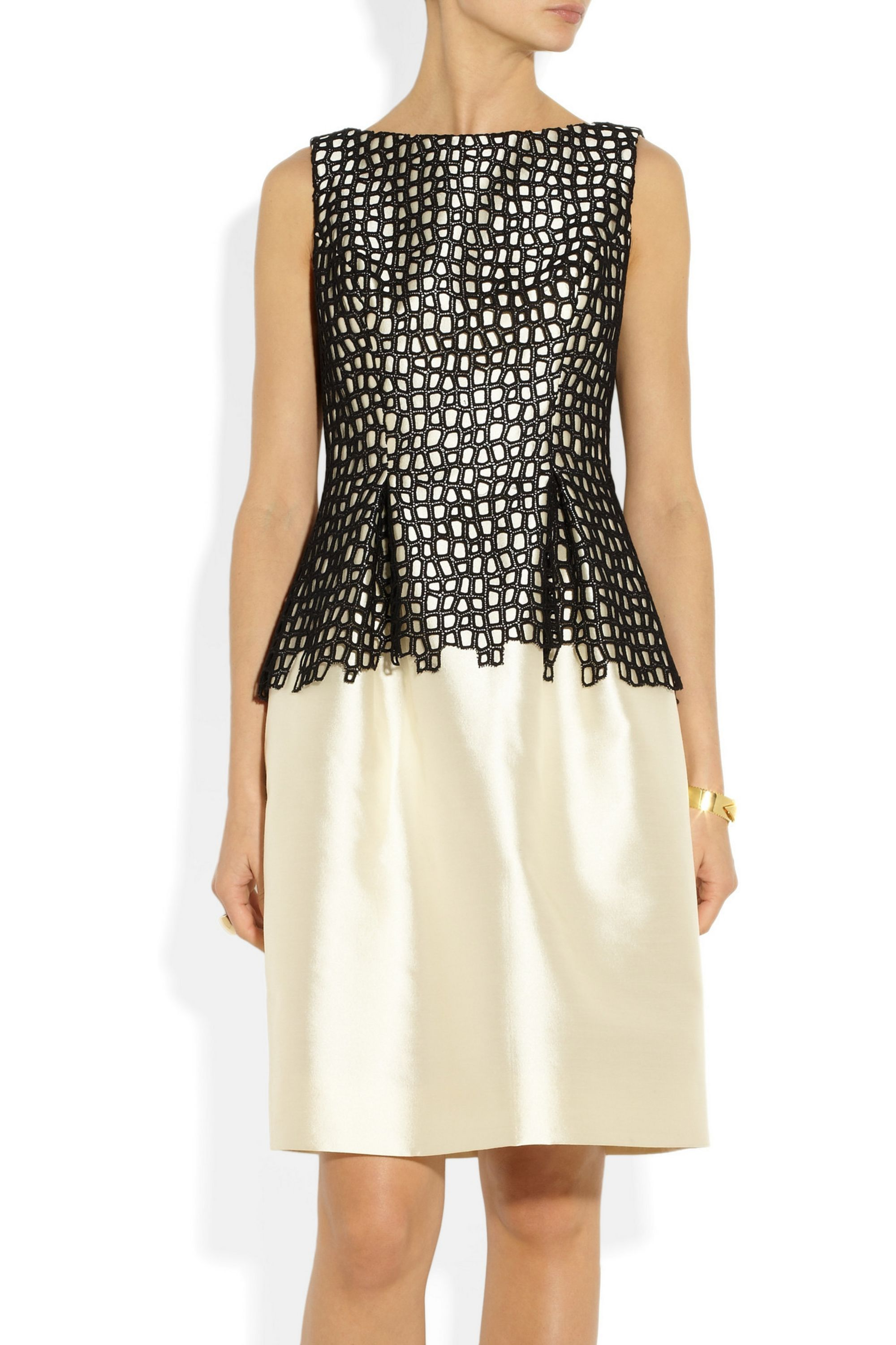 Lela Rose Wool-blend sateen and lace dress