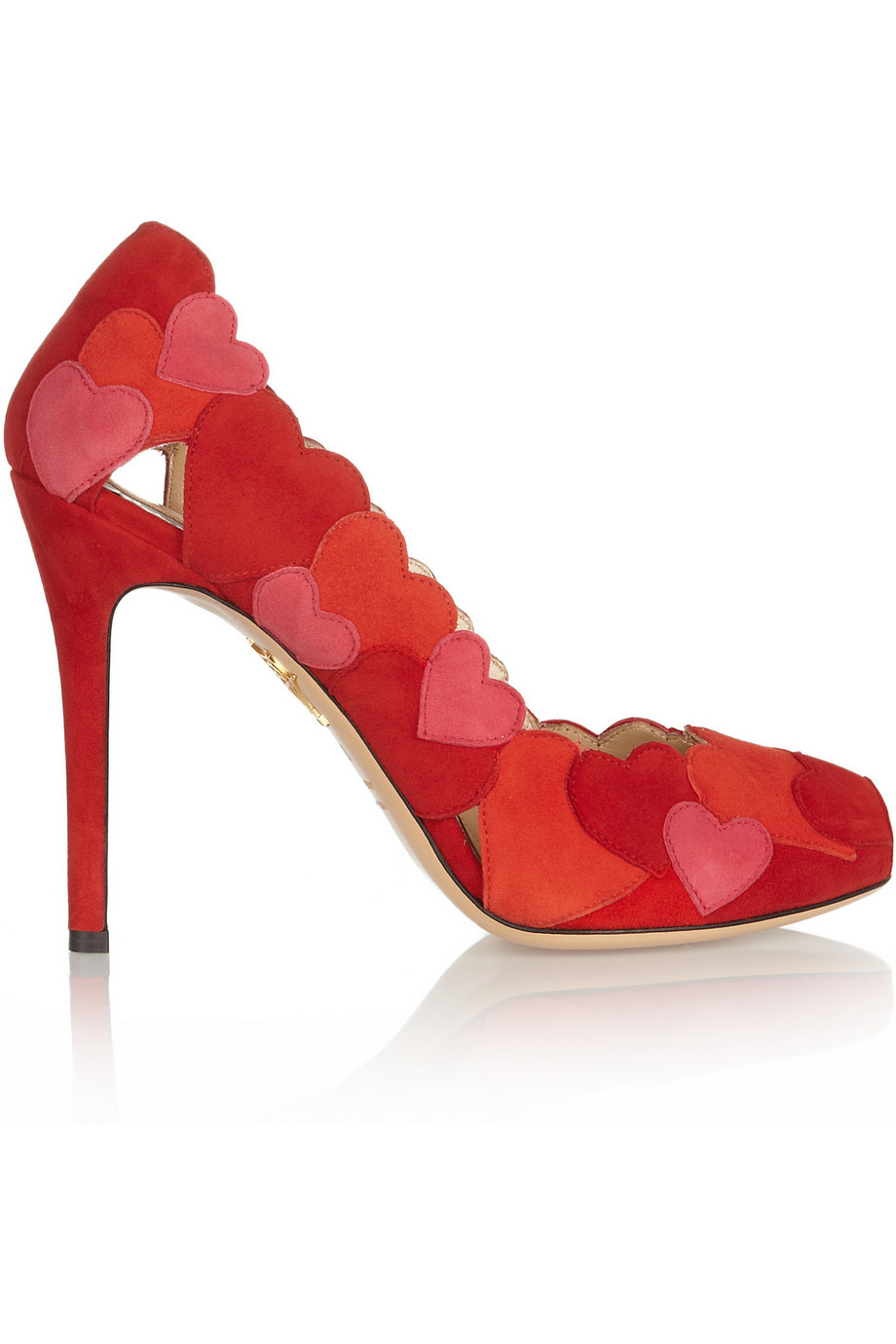Charlotte Olympia Love Me Heart-Appliquéd Suede Pumps, Red, Women's US Size: 3.5, Size: 34