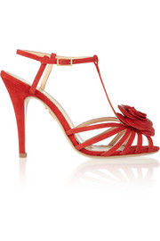 Rosa rose-appliquéd leather sandals