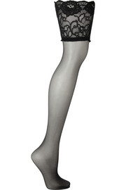 Allure 15 denier lace-trimmed stay-up stockings