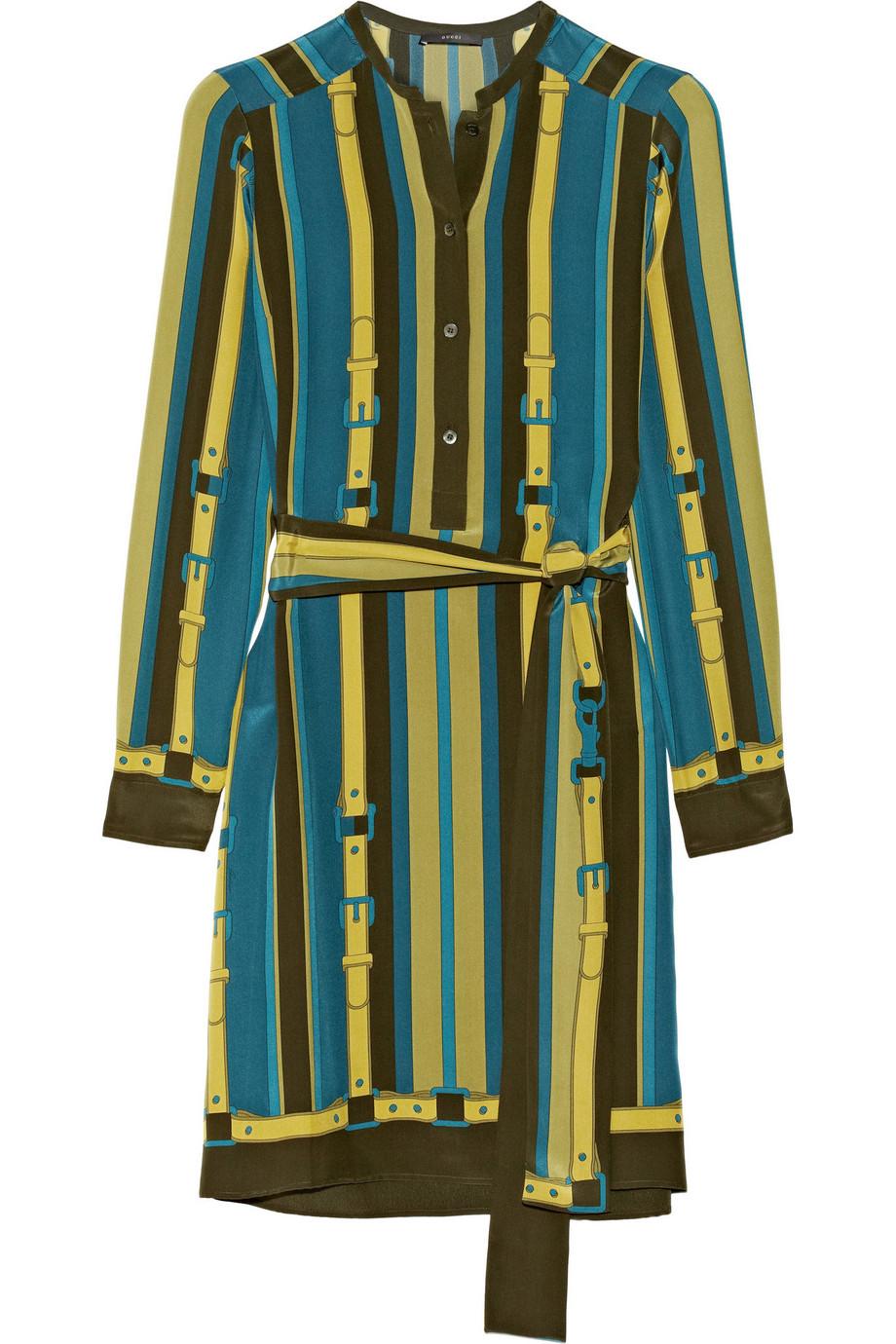 Gucci Printed Silk Crepe De Chine Dress, Size: 42