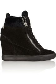 Lorenz shearling-trimmed suede wedge sneakers