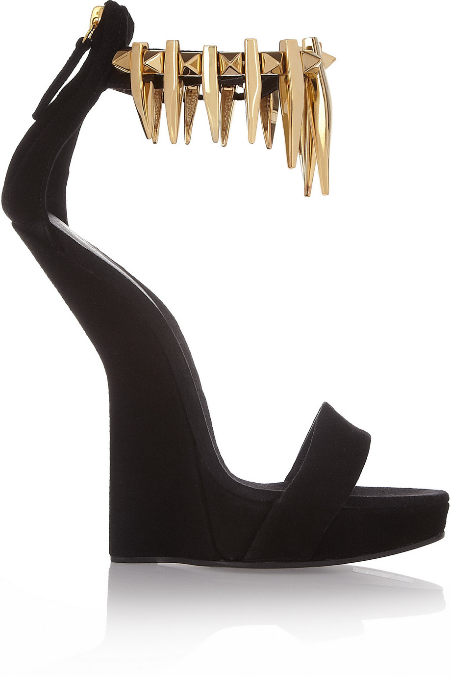 Spiked Giuseppe Zanotti Wedge Suede Sandals CxorBde