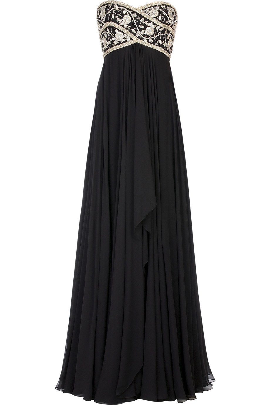 Marchesa beaded chiffon gown net a porter com stylehive