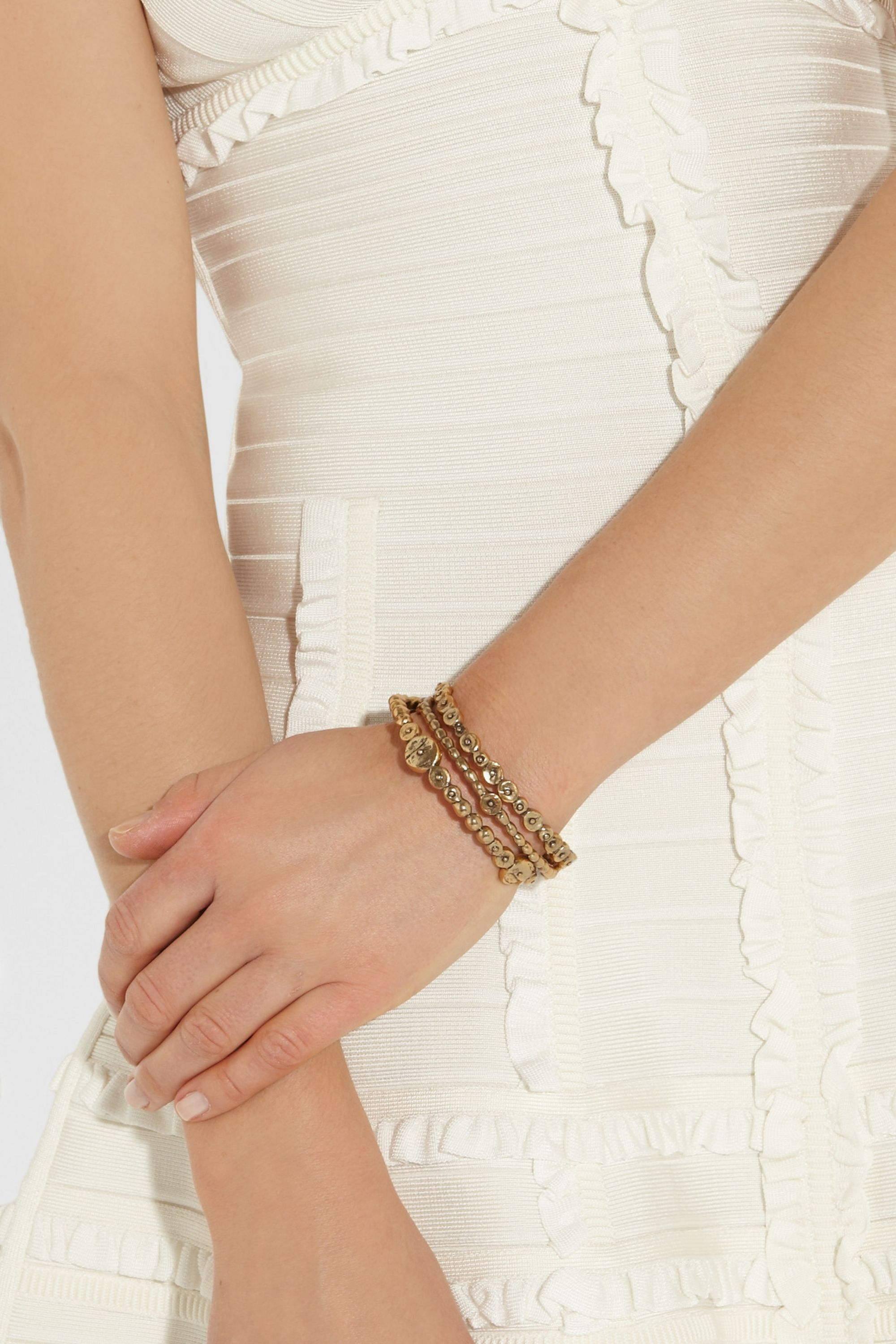 Oscar de la Renta Set of three gold-plated bracelets