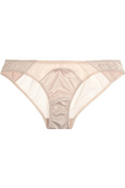 Penelope stretch-satin and tulle briefs
