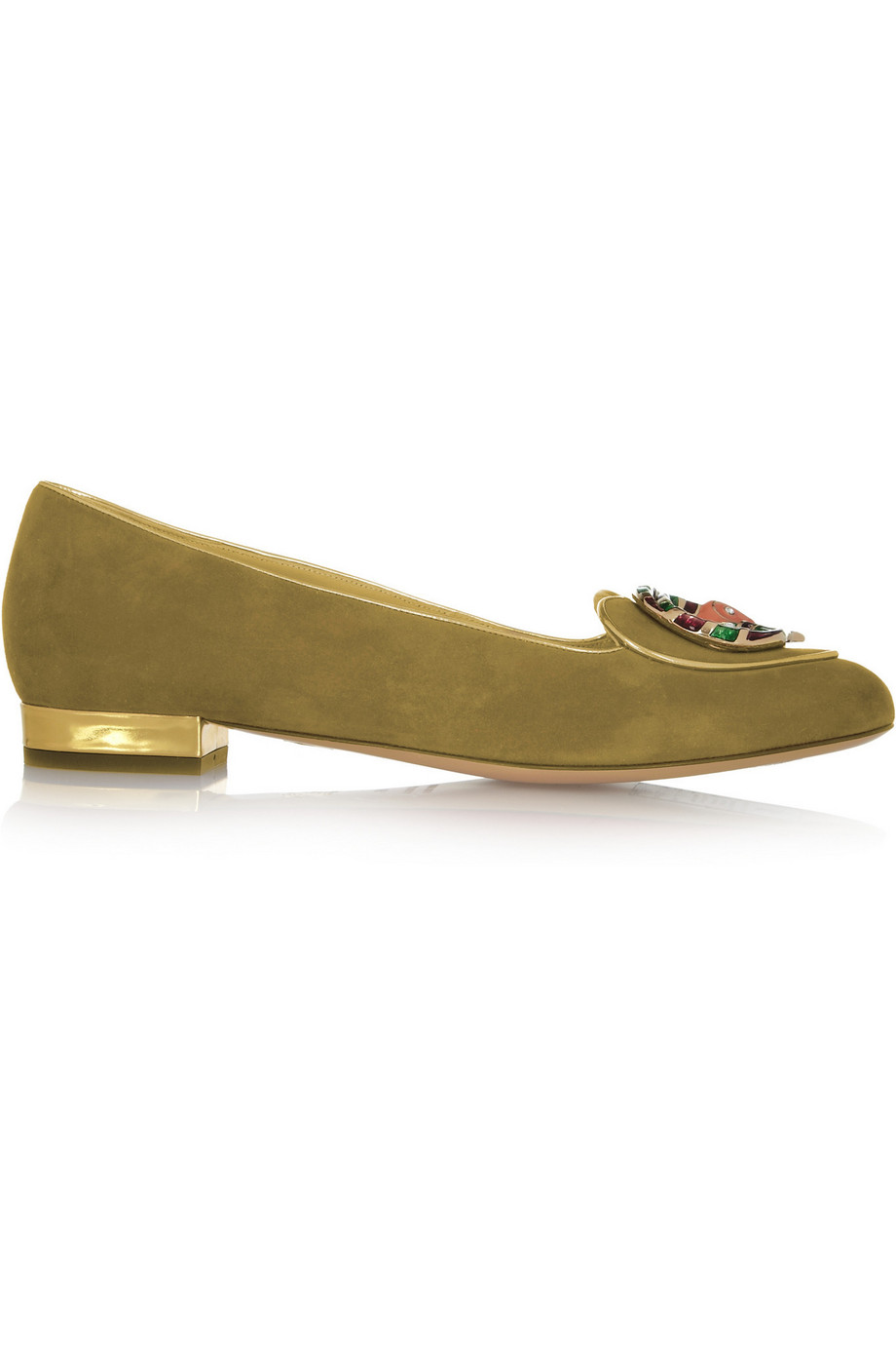 Charlotte Olympia Capricorn Suede Slippers, Green, Women's US Size: 4.5, Size: 35