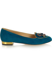 Charlotte Olympia Scorpio suede slippers