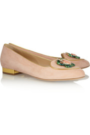 Charlotte Olympia Cancer suede slippers