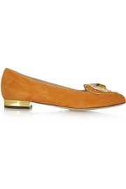 Charlotte Olympia Leo suede slippers