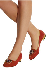Charlotte Olympia Aries suede slippers