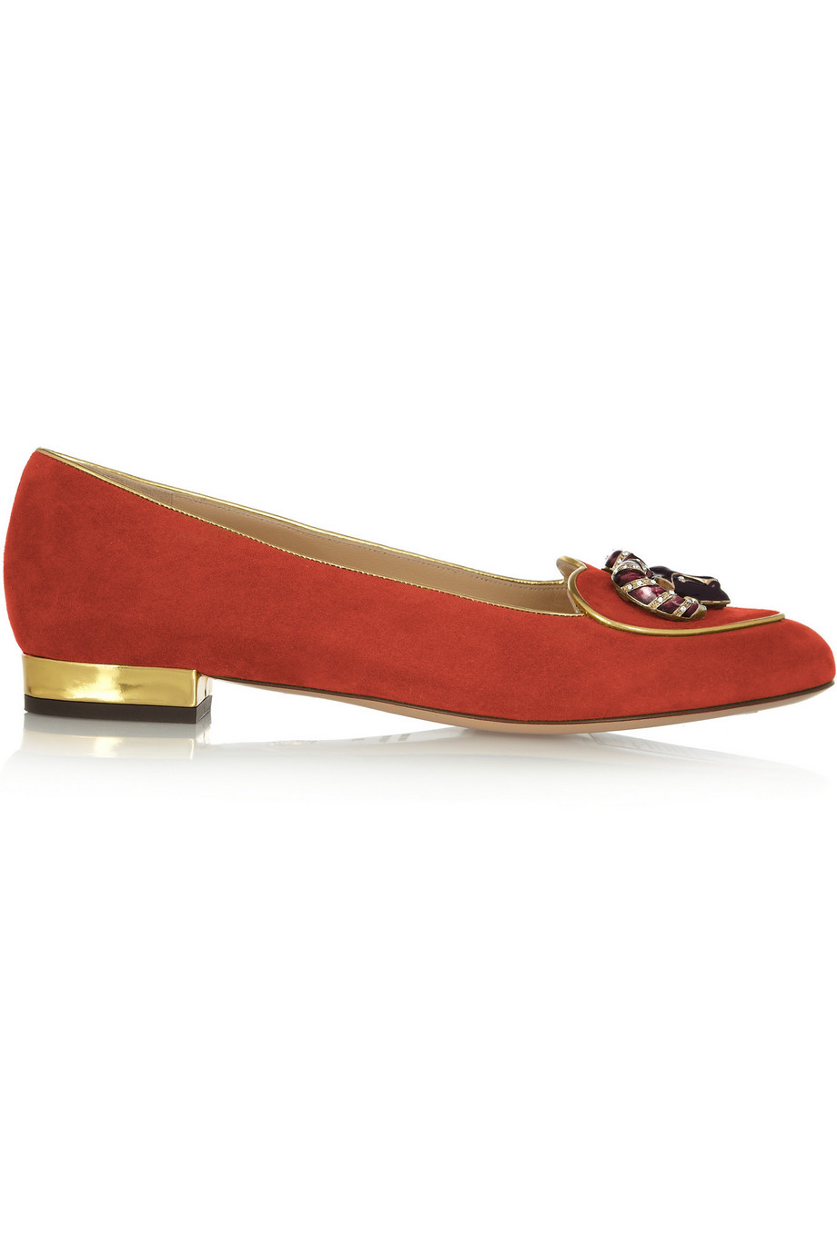 Charlotte Olympia Aries Suede Slippers, Red, Women's US Size: 3.5, Size: 34