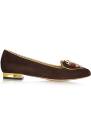 Charlotte Olympia Taurus suede slippers
