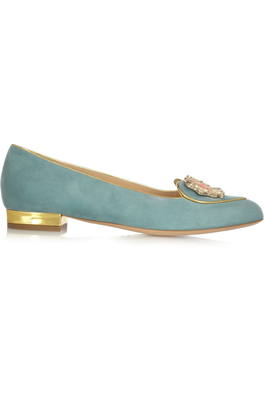 Charlotte Olympia Gemini Suede Slippers, Light Blue, Women's US Size: 3.5, Size: 34
