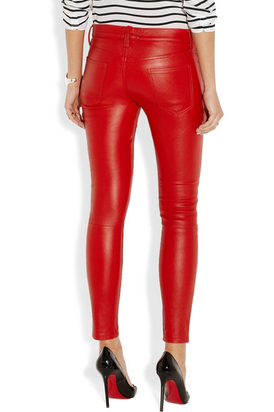 672be6d85b5c2 Current/Elliott. The Stiletto mid-rise leather leggings-style pants. $198.  Zoom In