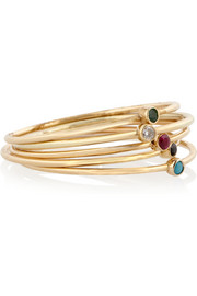 Jennifer Meyer Set of five 18-karat gold multi-stone stackable rings