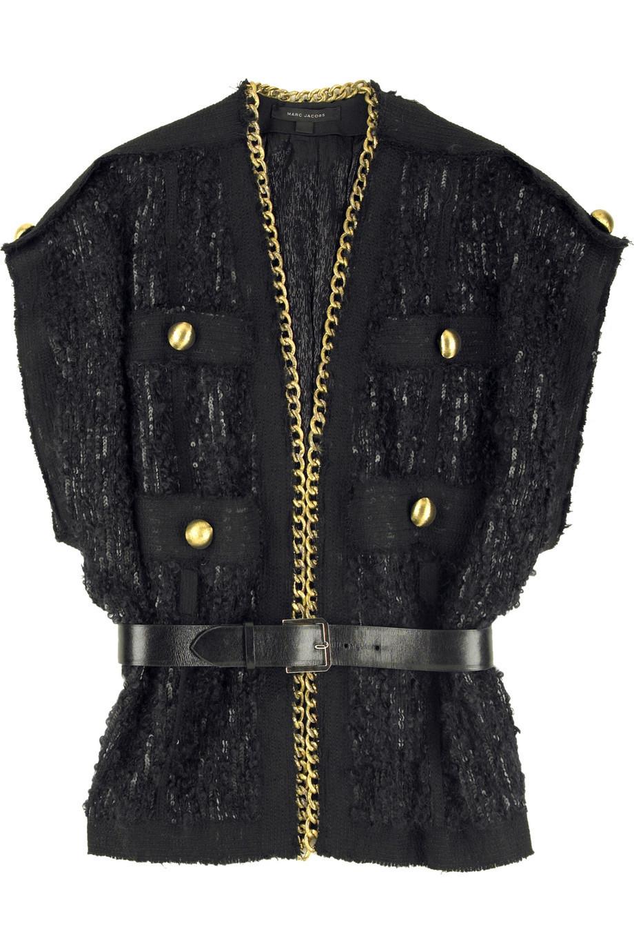 marc jacobs chain detail boucl jacket net a porter com. Black Bedroom Furniture Sets. Home Design Ideas