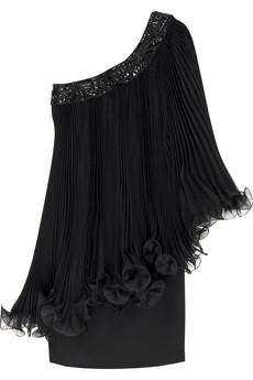 Marchesa Asymmetric pleat dress