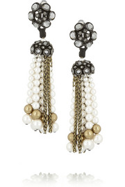 Lanvin Gold-tone crystal and Swarovski Pearl clip earrings