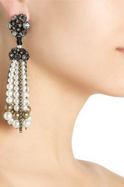 Lanvin Gold-tone, crystal and Swarovski pearl clip earrings