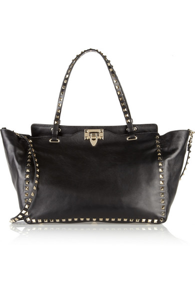Valentino - The Rockstud Medium Leather Trapeze Bag - Black