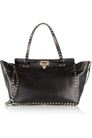 Rockstud medium leather trapeze bag